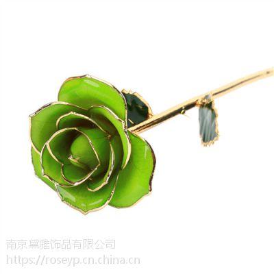 新款24K镀金玫瑰花 母亲节创意礼品 手工制作 黛雅厂家批发