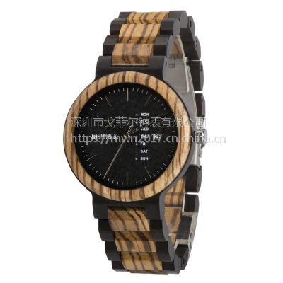 BEWELL新款情侣木质手表石英潮流时尚日历手表厂家代发批发