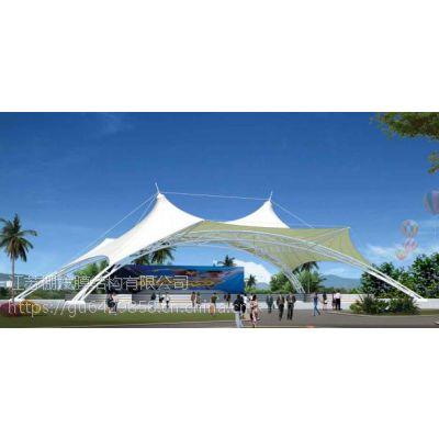 PVDF舞台膜结构屋顶篮球场张拉膜遮阳棚广场景观张拉膜结构