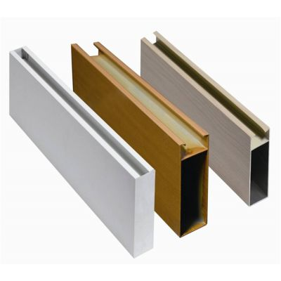 波浪形铝格栅 木纹U字形状铝方通幕墙 弧形铝方通