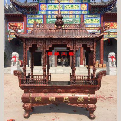 供应生铁八龙柱带盖寺庙道观大型户外香炉