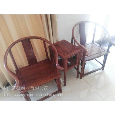 中山红木家具非洲酸枝圈椅三件套云鑫臻品