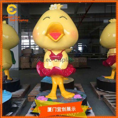 厦门宜创 商场美陈 玻璃钢 泡泡鸭模型 装饰橱窗道具定制