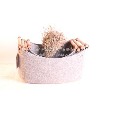 一体成型 带手柄收纳篮家用毛毡长方衣物筐大号整理杂物篮超厚实