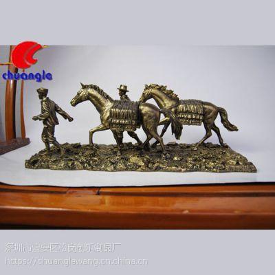 欧式复古战马 动物摆件树脂手绘仿真马草原放牧公仔