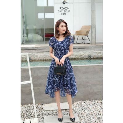 2018新款韩版时尚气质通勤夏季女装印花圆领连衣裙女中年