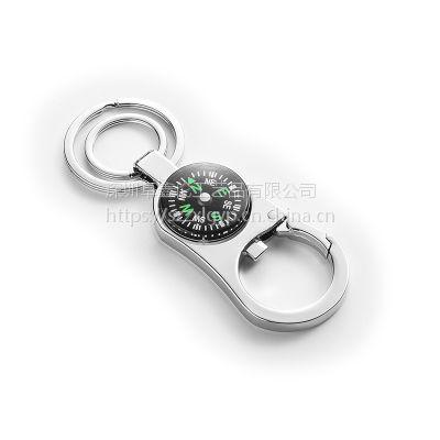 供应带指南针锁匙扣 高档防走失钥匙扣 指南针狗扣定制