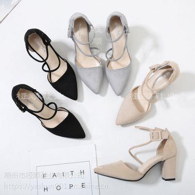 一件代发 休闲时尚女鞋中空尖头高跟女鞋 桠顺鞋业