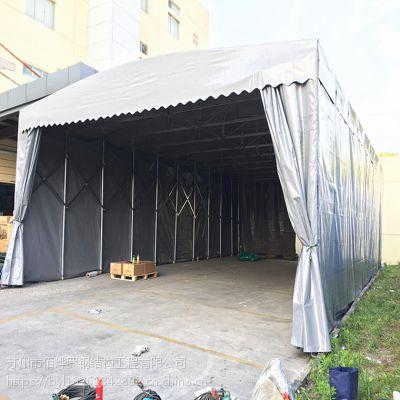 南京市江宁区固定雨篷生产厂家 大排档活动伸缩雨棚 轮式推拉帐篷 布 供应