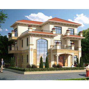 萍乡别墅设计AT1797私人豪华三层复式楼别墅建筑设计全套图纸14.8mX12.1m
