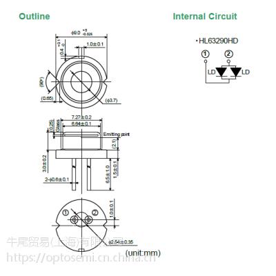 牛尾(原日立) 激光二极管 638波长/2.2W(CW);2.5W(Pulse)