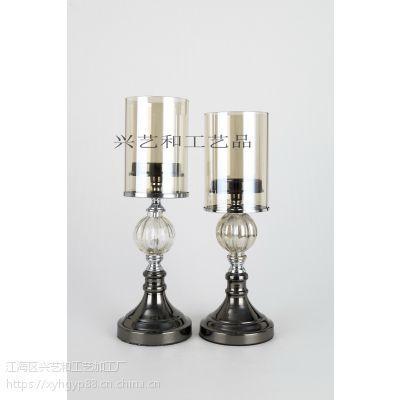 新古典欧式美式样板间家具摆设餐桌摆件浪漫烛光晚餐客厅古铜烛台