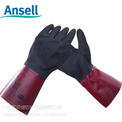 劳保批发Ansell 58-530丁腈橡胶手套 工业耐油耐磨防滑配防护服用