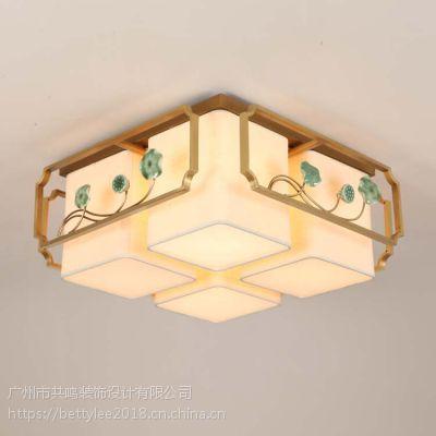 全铜中式吸顶灯中国风茶楼会所复古客厅奢华现代中式吸顶灯