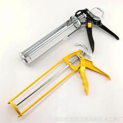 供应精品优质挤胶枪旋转式玻璃胶枪半筒式镀铬压胶枪小双柱打胶枪