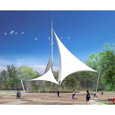 供应广场遮阳棚小区入口膜结构PVDF多片式景观棚