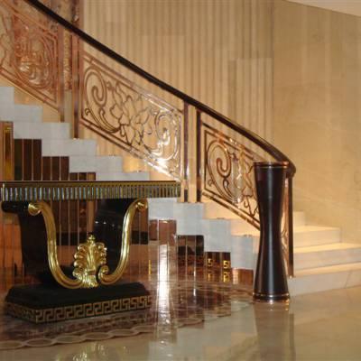 铝电镀玫瑰金楼梯护栏浙江 镜面铝艺扶手