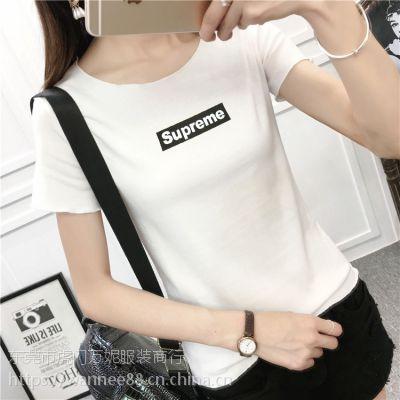 成都便宜地摊货女士T恤夏季短袖纯棉T恤女装半袖小衫批发韩版T恤清货2块钱