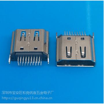 HDMI插板式母座19P A型鱼叉式180度直插DIP立式 PCB - 创粤