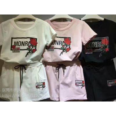 东莞鸿蒙厂家便宜纯棉 夏季休闲女式套装 运动女式装套装 批发短裤+T恤
