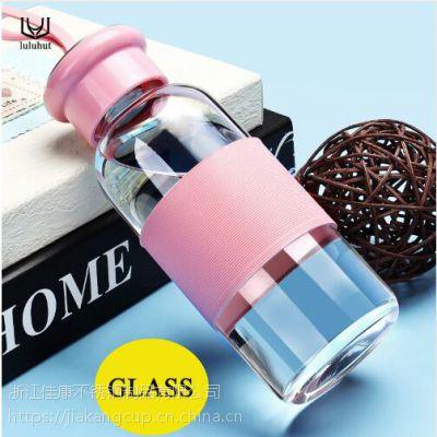 爆款!!!玻璃杯便携加厚水杯随手杯学生广告玻璃水瓶韩国创意杯子印字定制情侣杯高硼硅玻璃杯