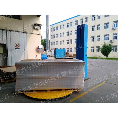 山东纸板桶薄膜缠绕机 具有防尘、防潮、降低包装成本提高包装效率的专业设备生产厂家 喜鹊包装机械