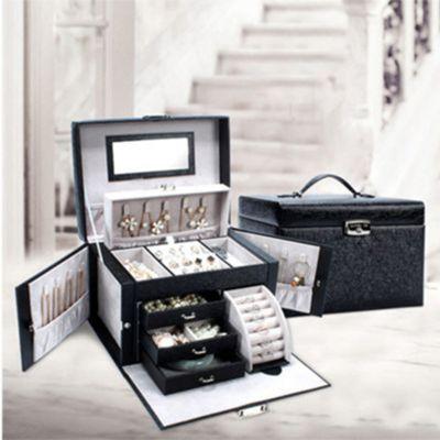 PU首饰盒公主欧式饰品盒首饰包装盒木质带锁耳钉项链戒指收纳盒