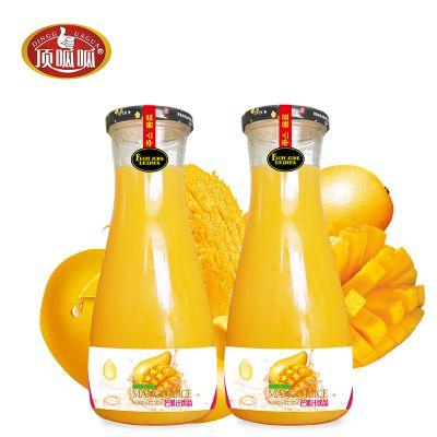 生榨芒果汁饮料1L批发代理招商加盟顶呱呱厂家直销1X6玻璃瓶