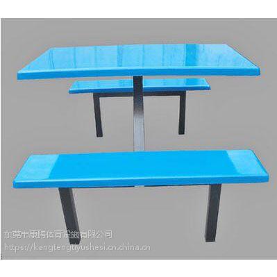学校食堂连体玻璃钢餐桌椅 公司餐厅一体式餐桌椅 户外彩色餐桌