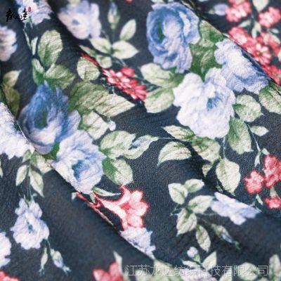 厂家直销雪纺印花面料 春夏新品印花雪纺布服装女装面料 花型多选