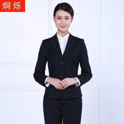 湖南职业装免烫女士西服套装黑色长袖白领职业套装行政面试商务正装