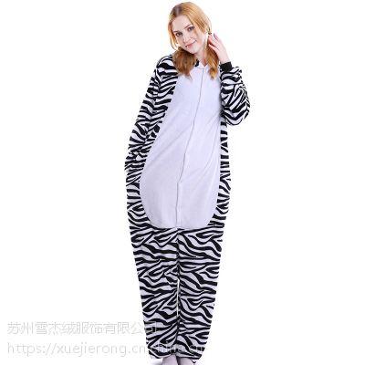 斑马卡通动物连体成人家居服情侣睡衣一件代发来样订做