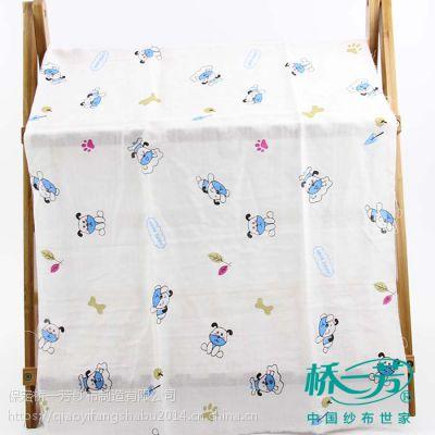 桥一芳纯棉双层印花纱布婴童内衣睡衣秋冬纱布面料新品床上用品装饰布幅宽155cm