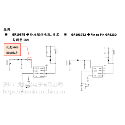 AC/DC开关电源方案—GR1937E/E2六级能效脉冲调变控制芯片,内置MOS,线性降频驱动IC