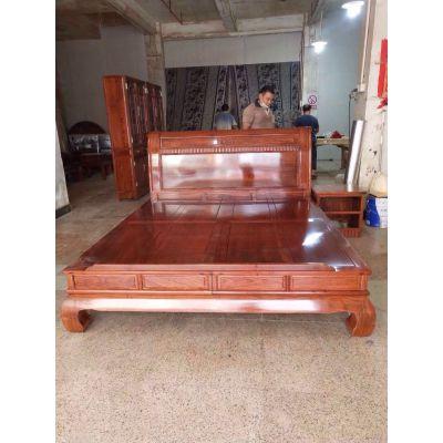 中山实木卧室家具名 琢世家刺猬紫檀红木双人床定制销售