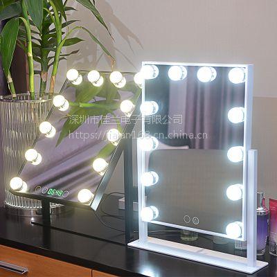 LED灯泡镜 发光灯泡镜 12灯灯泡补光美容镜工厂 变色调光灯泡镜新款