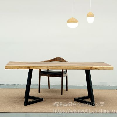 梧空木业南美胡桃木实木大板办公桌简约现代电脑桌