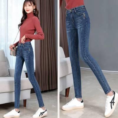 贵州黔西南哪里有低价牛仔长裤批发货到付款女士小脚紧身牛仔长裤紧身裤批发
