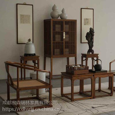 成都禅意新中式茶楼家具定做工厂 成都新中式禅意家具专业定制工厂 仿古茶楼家具