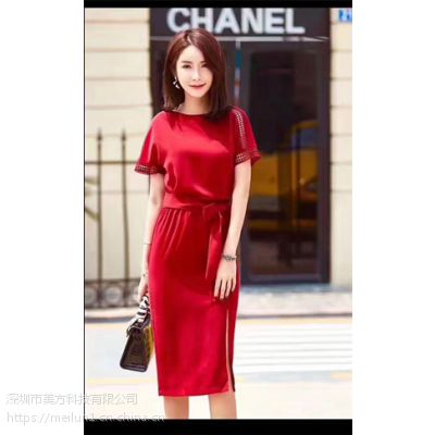 美仑2017夏季新款立体修身收腰红色连衣裙 批发 订做 一件代发