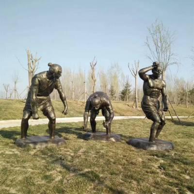 农耕人物铸铜像古代劳动人民主题雕塑玻璃钢仿铜农民种庄稼城市园林摆件