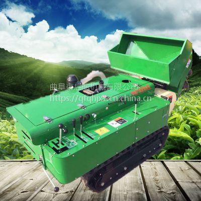 新型32马力履带式果园多功能施肥回填机 多功能管理机 启航自走式果园果树开沟施肥回填一体机