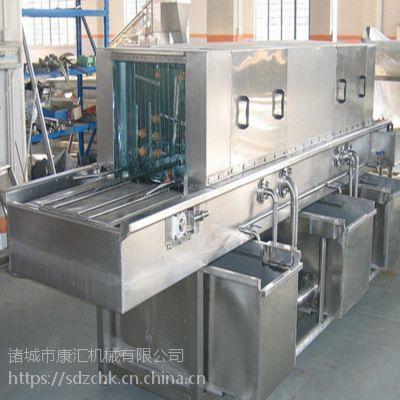 供应全自动托盘清洗机 康汇高压水喷淋洗筐机 鸡笼子消毒去污清洗机