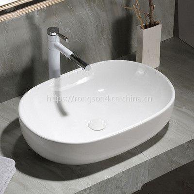 陶瓷浴室台上大尺寸无孔白色洗脸盆