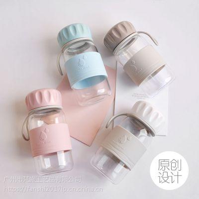 批发原创新款点心玻璃杯 百货礼品定制玻璃水杯 硅胶手提玻璃杯子