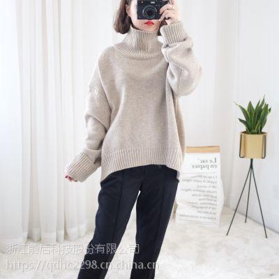 新款羊毛宽松高领毛衣外套短款套头针织衫春秋冬装