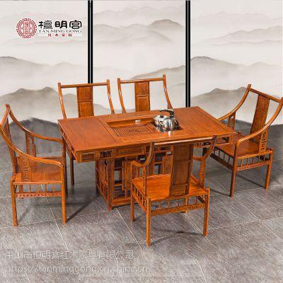 檀明宫红木家具 紫檀花梨木罗马茶台六件套古典中式实木茶桌椅组合