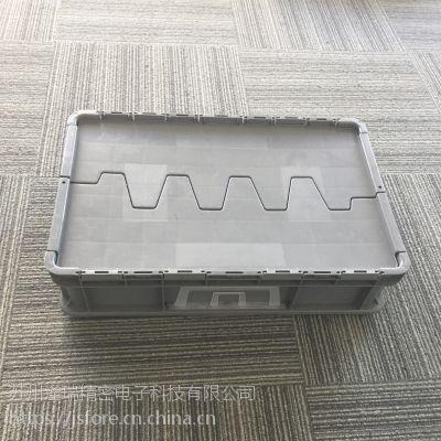 厂家直销灰色pp EU46148翻盖箱 可堆式周转箱