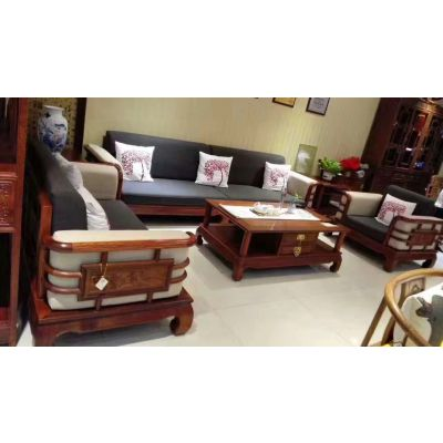 皇朝实木客厅家具沙发价格 刺猬紫檀红木家具价格 名琢世家木家具