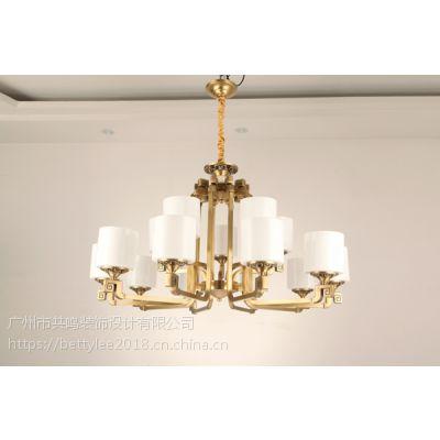 全铜新中式吊灯9211新款别墅复式酒店餐厅现代中式纯铜客厅灯吊灯